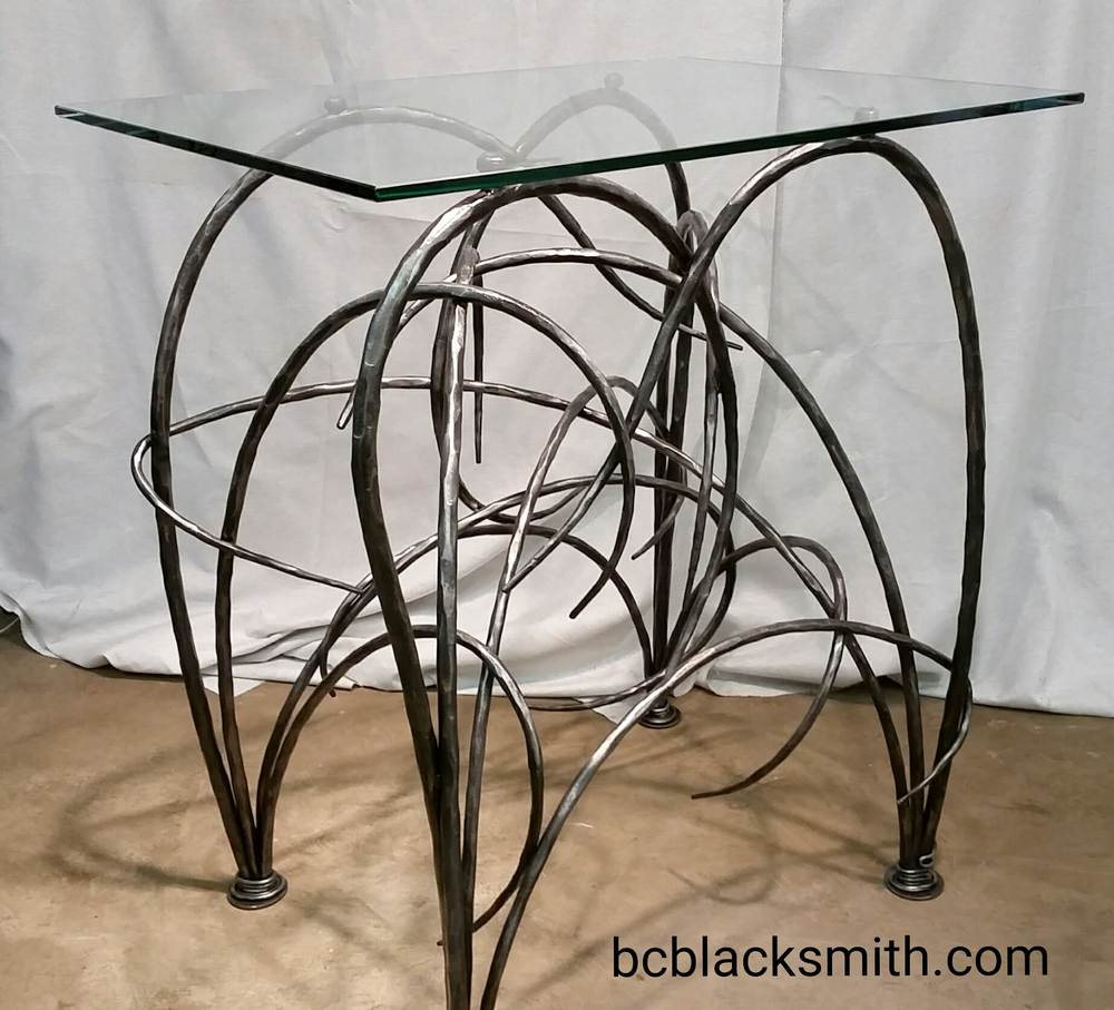 wrought iron table glass top