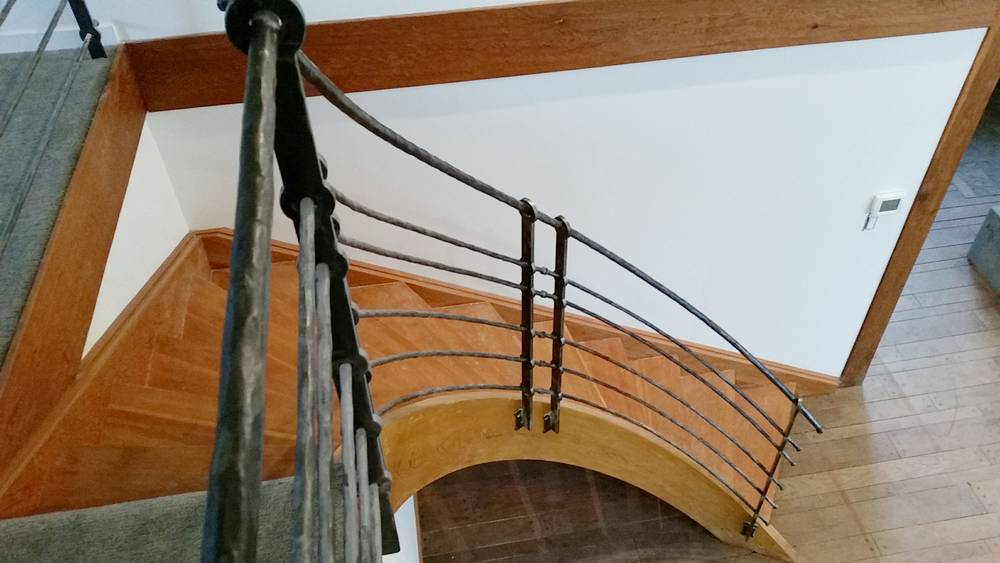 forged industrial design curved railing