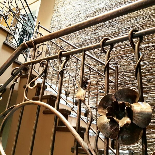 railing with wrought iron flower